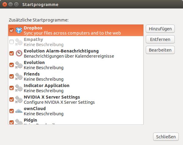 Startprogramme Ubuntu