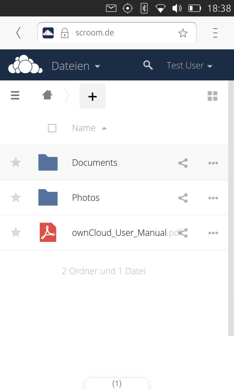ownCloud Files im Ubuntu Touch Browser